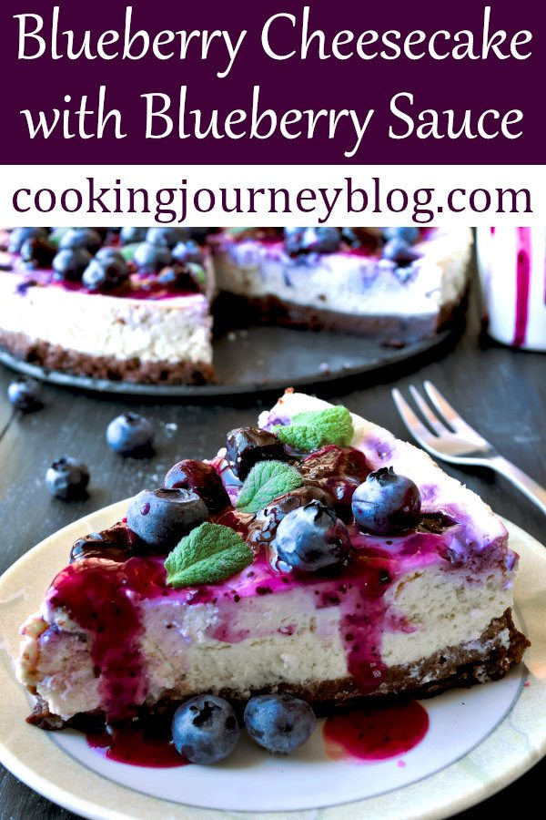 Easy Blueberry Cheesecake Recipes with Blueberry Sauce on top is a perfect summer treat! It is moist, with chocolate biscuit base. You can make this cheesecake, using fresh or frozen berries! #blueberries #blueberrypie #cheesecake #summer #dessertrecipes #easyrecipe