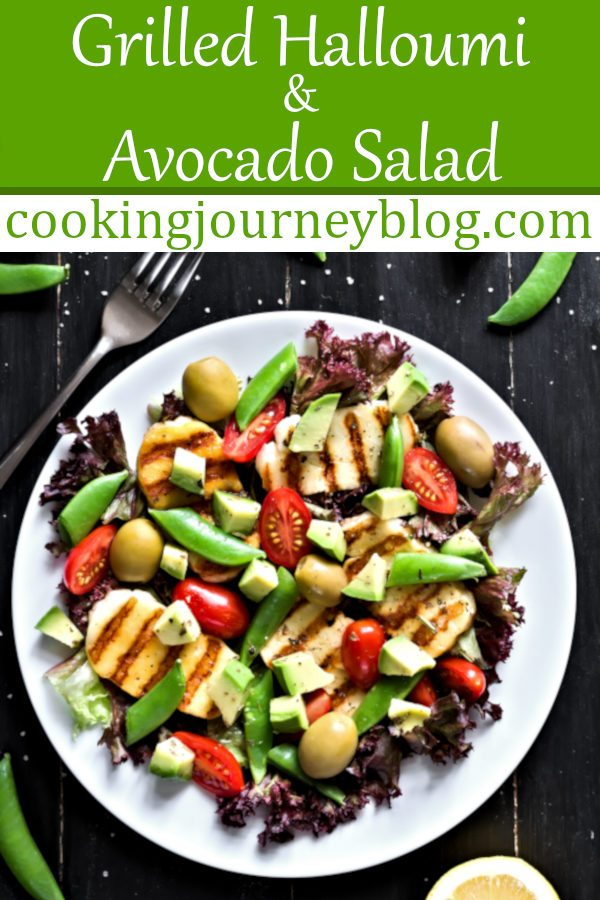Grilled Halloumi and Avocado Salad is a great dish to enjoy in summer! This is an easy and healthy halloumi cheese recipe that anyone can make. Grilled cheese is warm and crispy, combined with fresh summer vegetables. One of the best grilling ideas for summer! #grilling #salad #summer #colorful #avocado #healthyfood #healthyrecipes