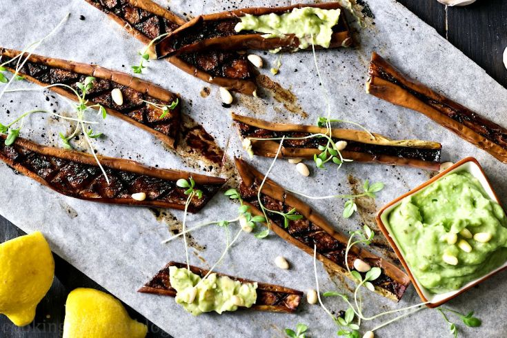 Roasted Japanese eggplants with green avocado pesto and lemons