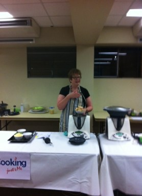 Caroline presenting at the October Cookingjust4Me+you class