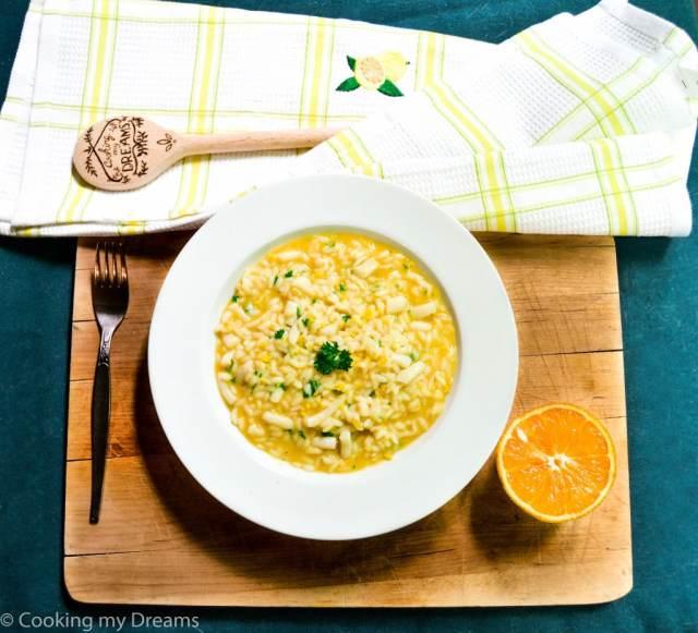 Orange squid risotto