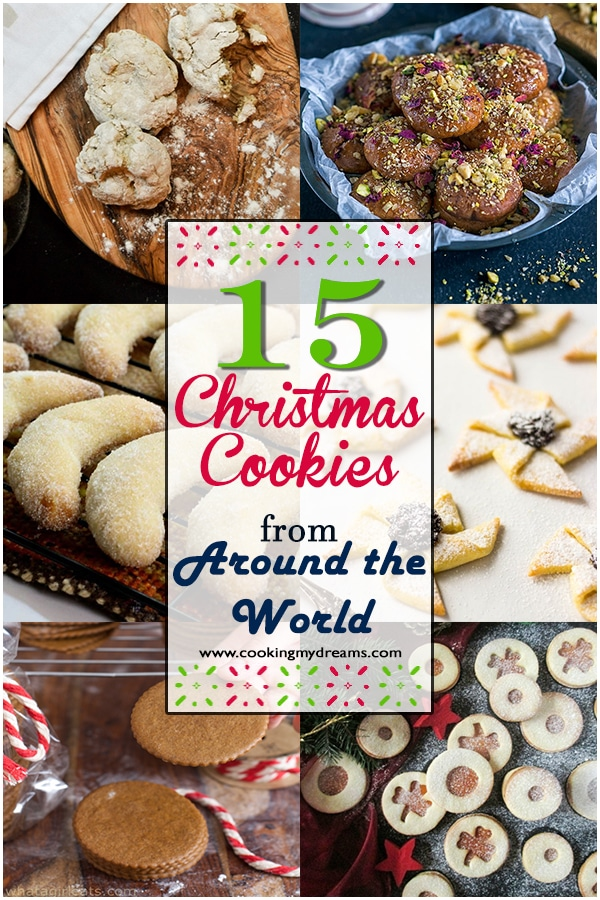 A collection of 15 traditional Christmas Cookies from Countries all around the world!. Enjoy this journey through flavours and Holiday traditions. #christmascookies #traditionalrecipes
