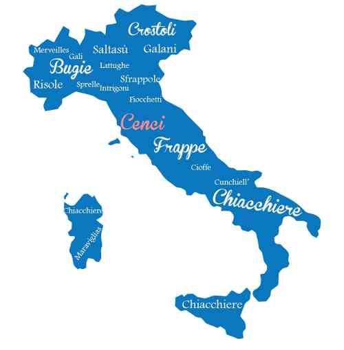 Blue vector map of Italy showing all the different pastry names