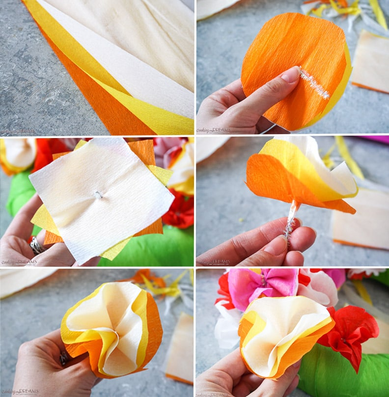 instructions to make crepe paper flowers