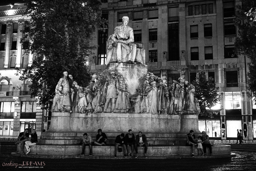 statue in Budapest at night, black and white