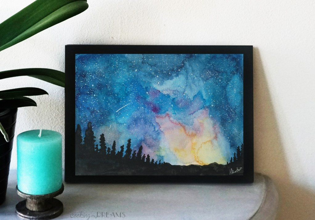 night sky sunset watercolor painting