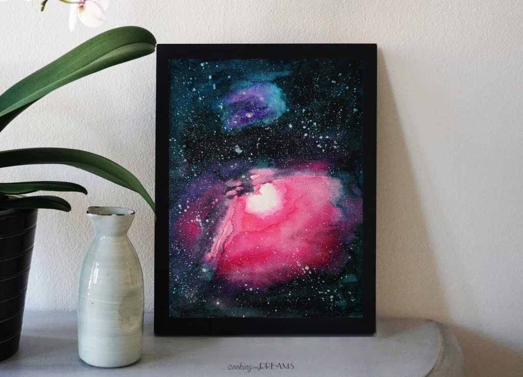 orion's nebula watercolor painting