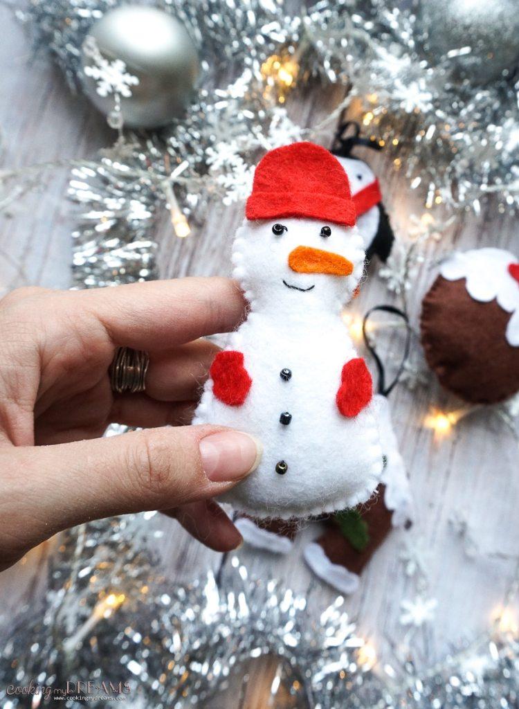 snowman felt ornament