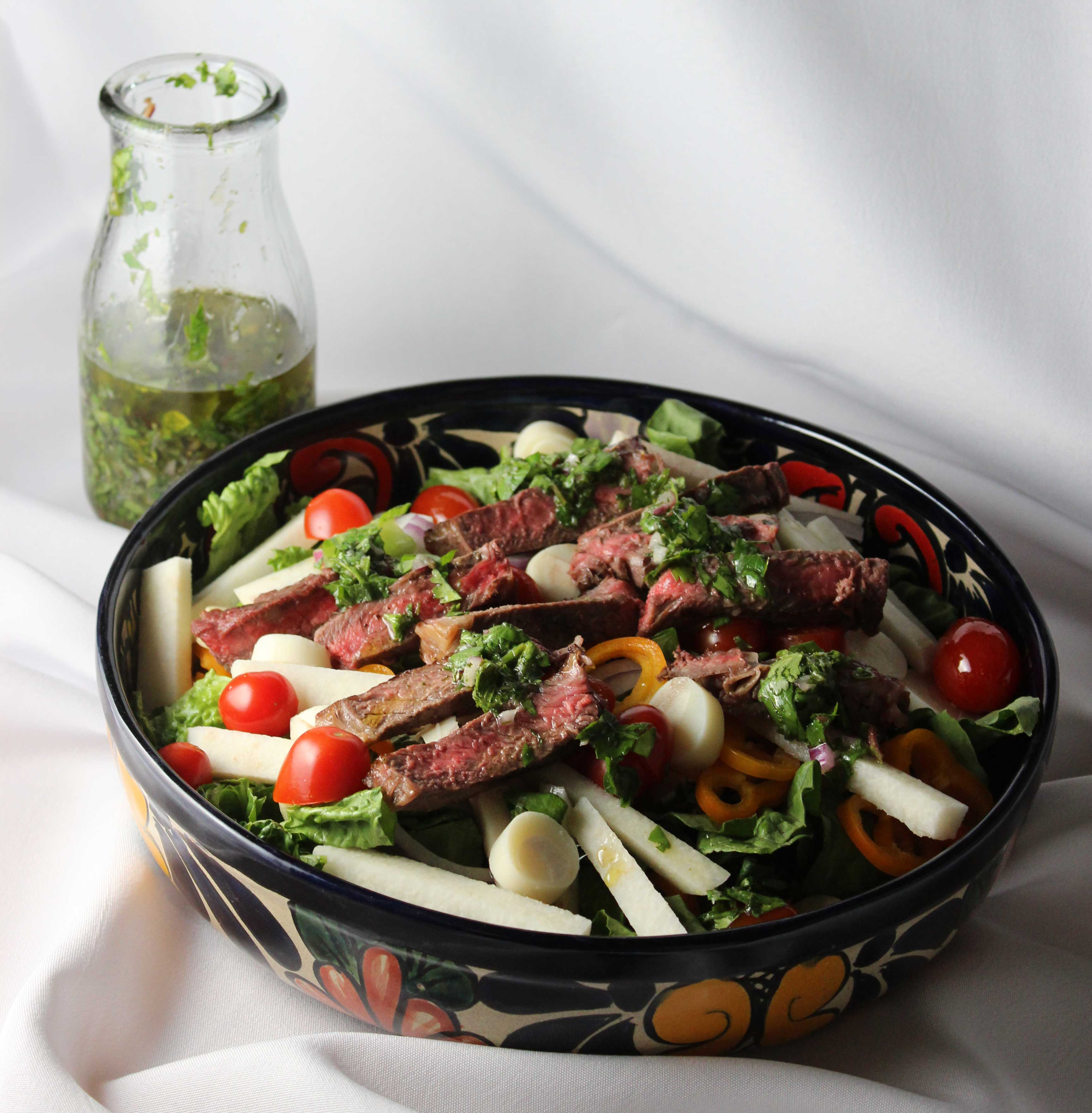 Chimichurri Steak Salad - Cooking Onions