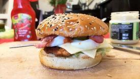 Homemade crispy chicken burger by Adara and Daria