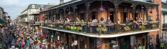 New Orleans Bourbon Street on Mardi Gras