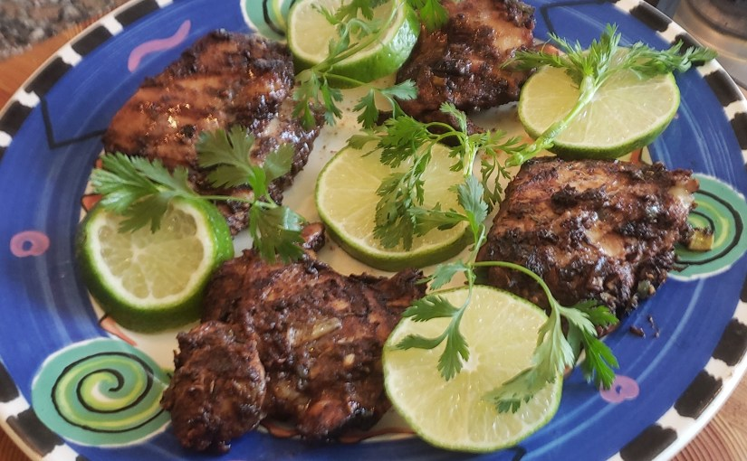 Jerk Chicken Thighs, Grilled