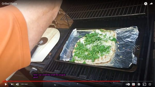 Grilled pizza on the heat