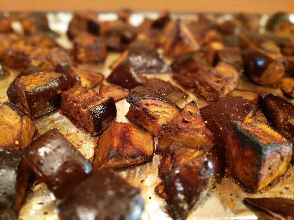 Sheet Pan Roasted Eggplant with Balsamic Glaze