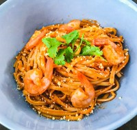 Shrimp with linguini pasta