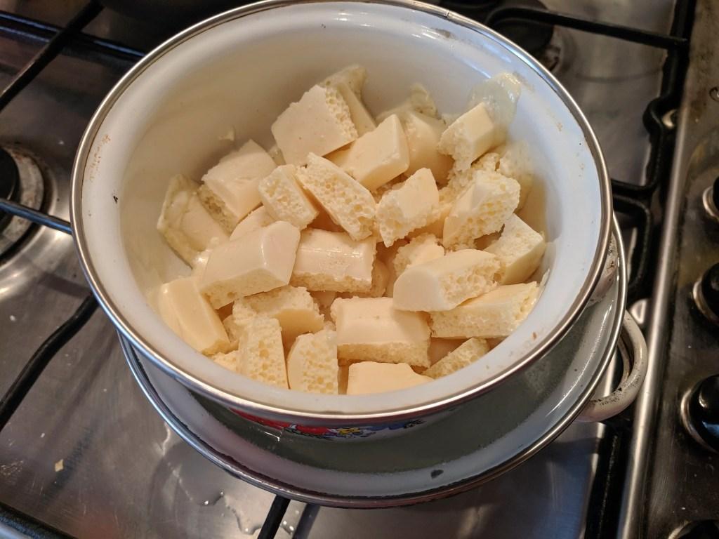 melting the white chocolate