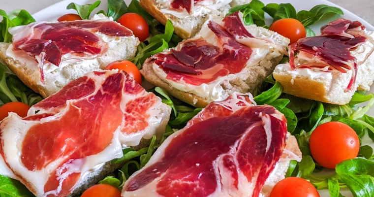 Jamon Iberico With Mascarpone On Spanish Bread (Tapas)