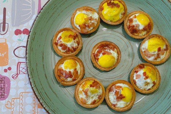 Quail Egg and Bacon Tartlets