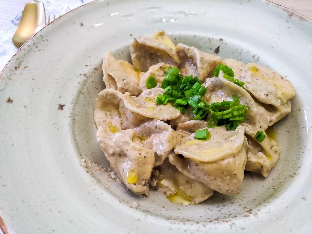 homemade tortellini with walnut sauce