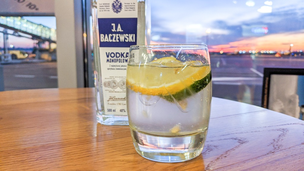 Baczewski Vodka Soda as seen in the LOT Polish Airlines Airport Lounge