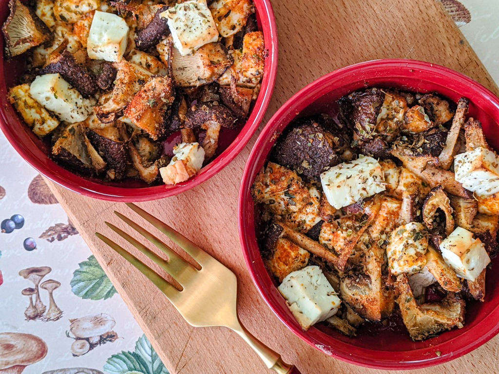 baked mushrooms and feta