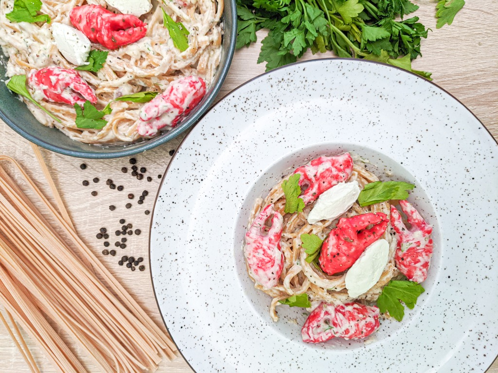 creamy crab pasta using imitation crab claws