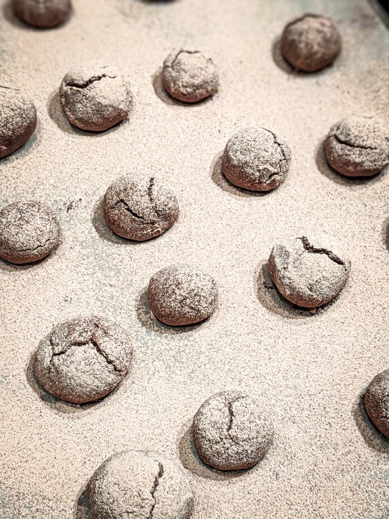chocolate cinnamon crackle cookies right out of the oven