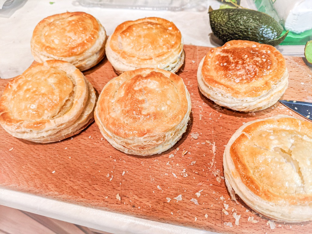the puff pastry biscuits for the avocado egg salad sandwich