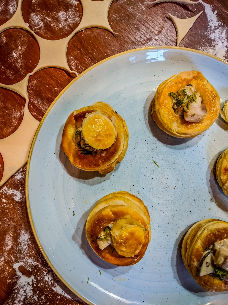 vol-au-vent with whitefish on a churchill duck egg blue plate