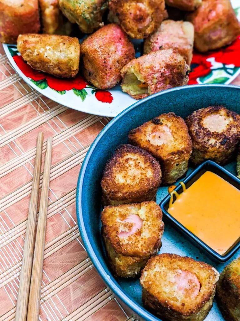 Fried Waffle Potato Sausage Sushi Recipe