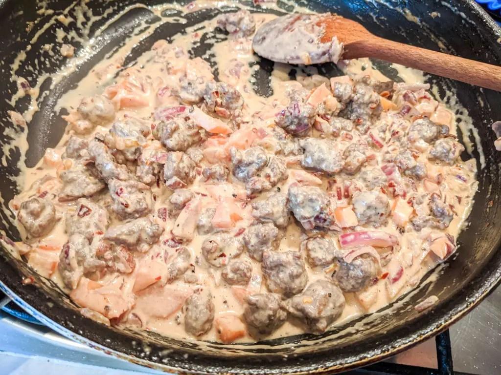 creamy sausage pasta sauce before adding the pasta (farfalle)