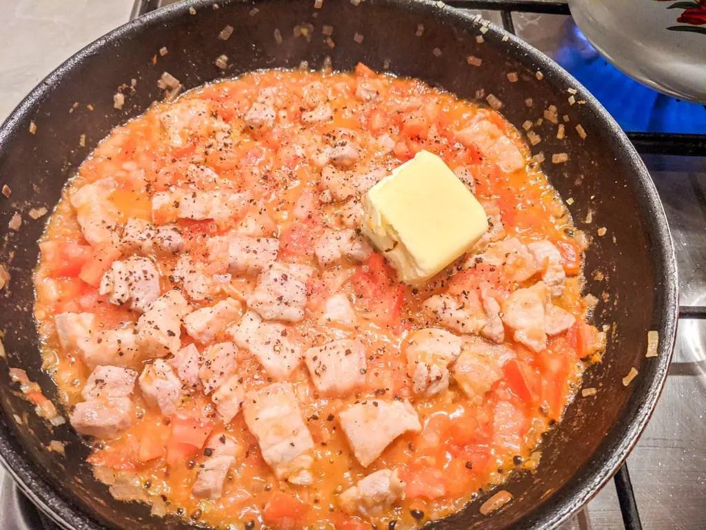 Making the shallot tomato sauce