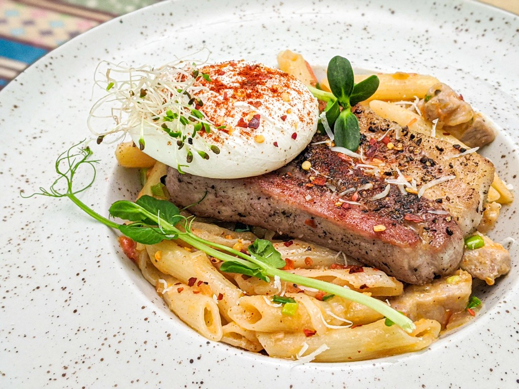 penne pasta with pork belly and poached egg recipe