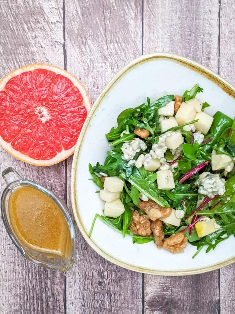 Roquefort And Candied Walnut Salad With Grapefruit Vinaigrette