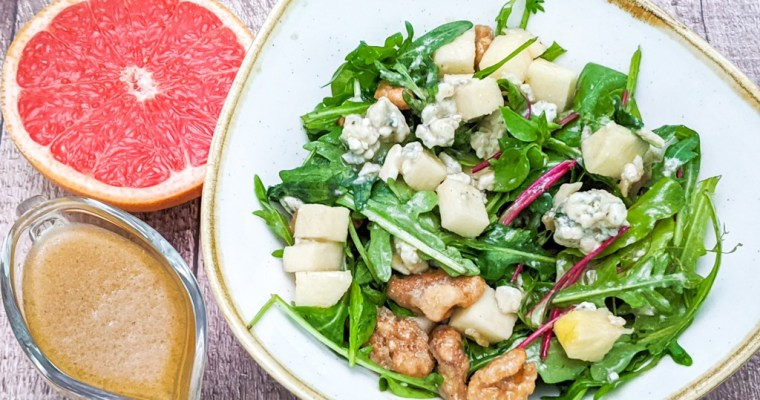 Roquefort And Candied Walnut Salad With Grapefruit Vinaigrette