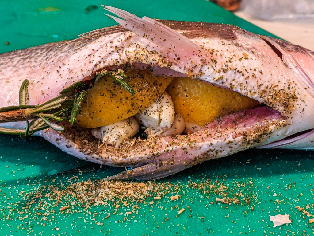 mediterranean baked sea bream stuffing