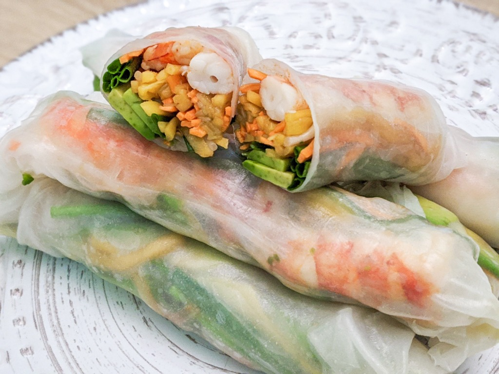 Shrimp Avocado Spring Rolls cross section