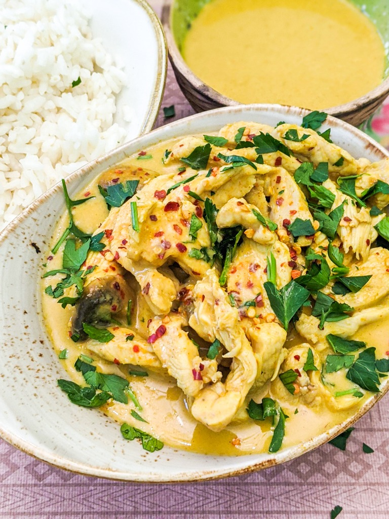 Thai Yellow Curry With Chicken and a side of white rice