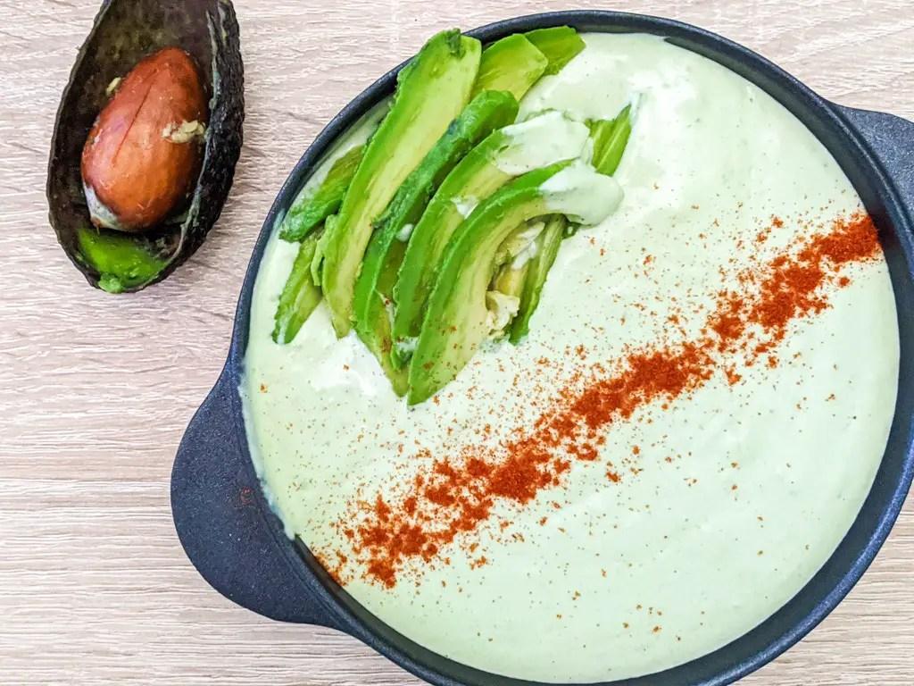 Avocado Tahini Sauce with paprika on top