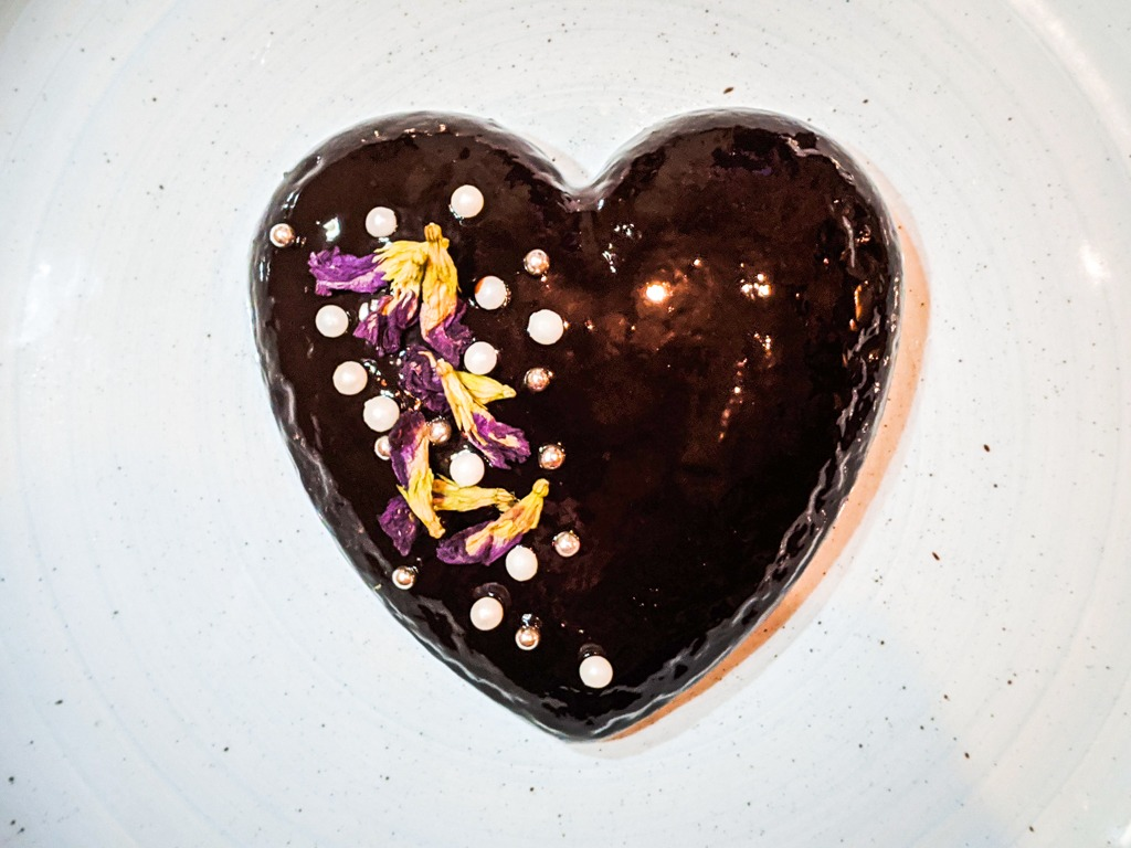 Butterfly Pea Flower Cake With Dark Chocolate Mirror Glaze
