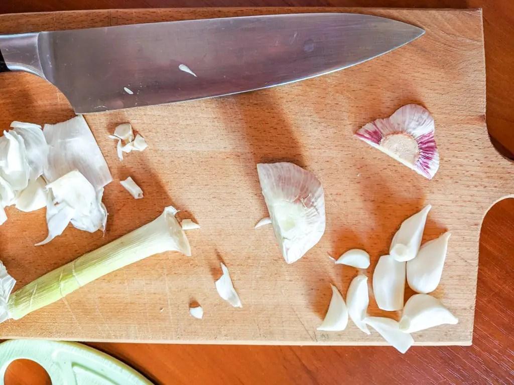 mincing fresh young garlic