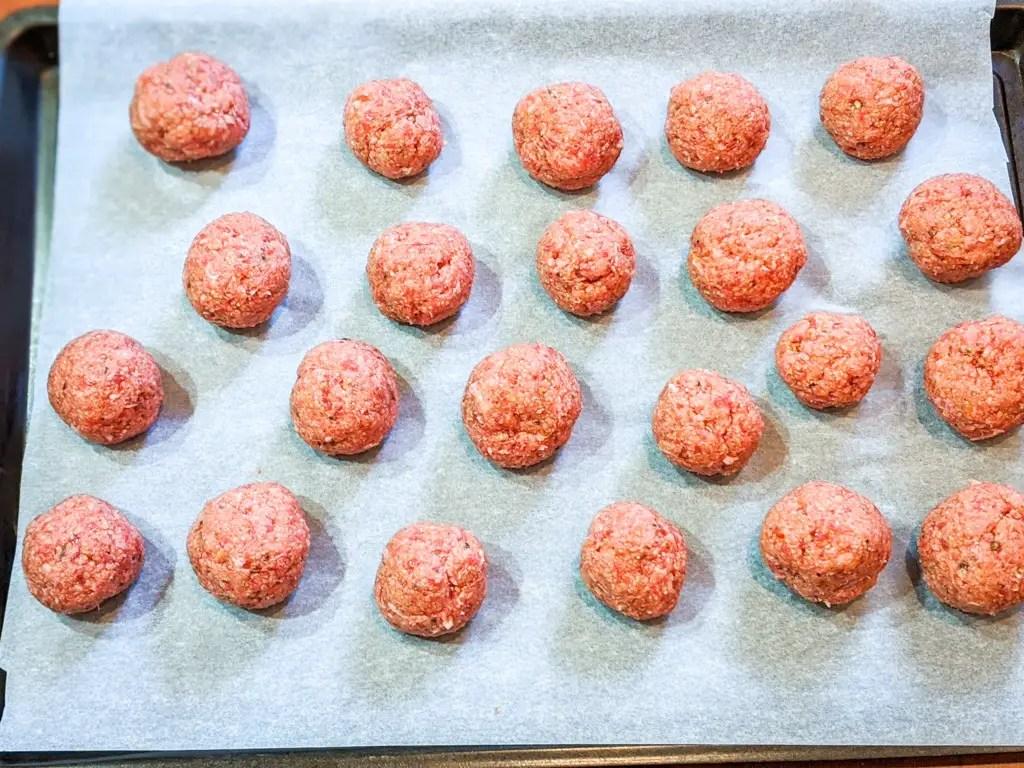 pork meatballs on the baking tray