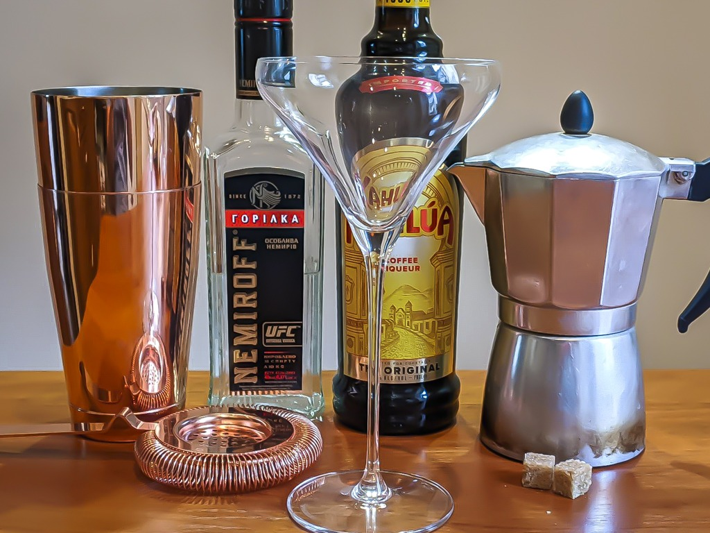 Ingredients table to make an espresso martini perfect
