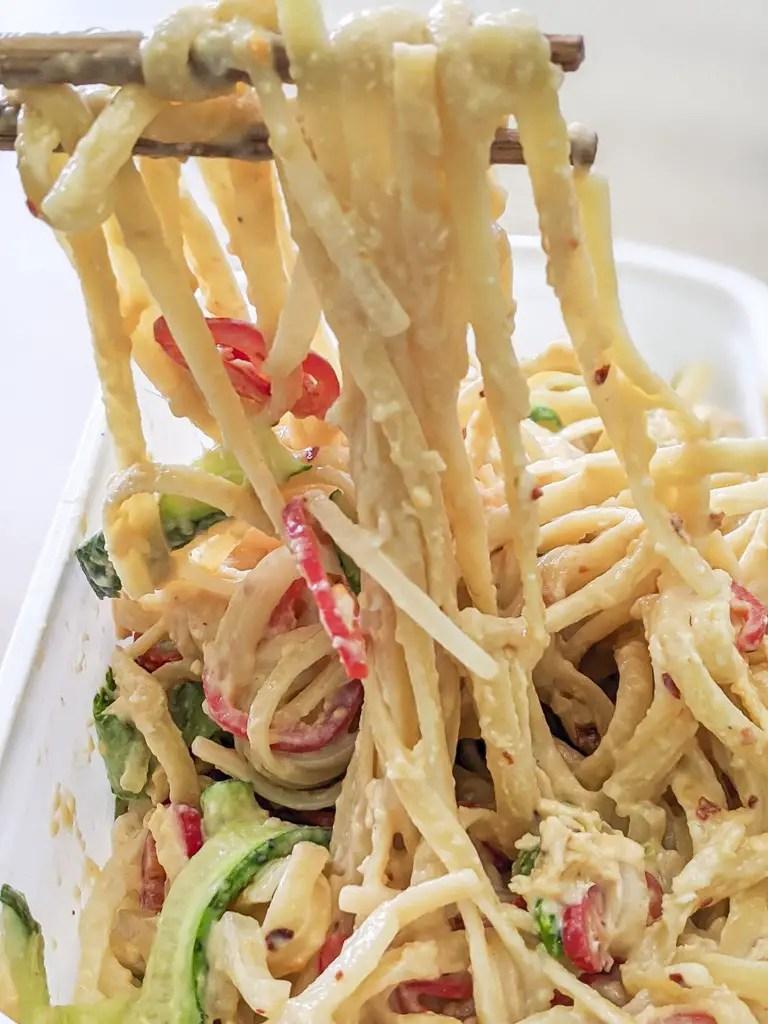 noodle pull of the Cold Sesame Noodles