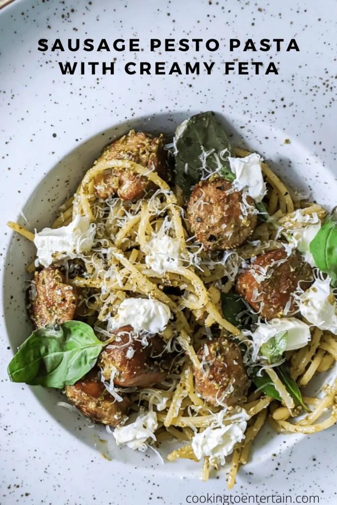 sausage pesto pasta with creamy feta pin recipe