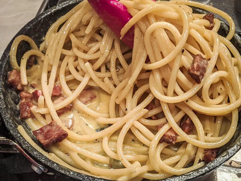 Pasta carbonara sauce in the pan