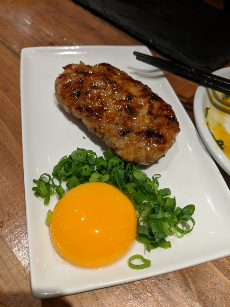 An authentic tsukune from a yakitori bar in Ikebukuro, Tokyo, Japan
