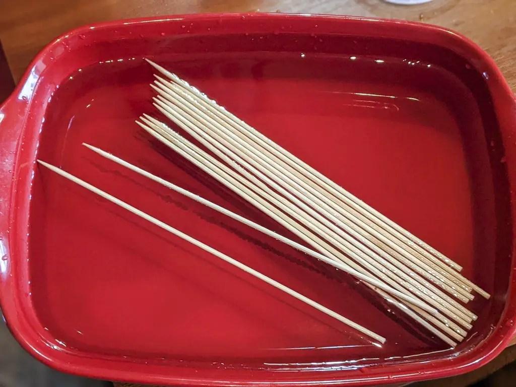 soak the skewers in water so they do not burn
