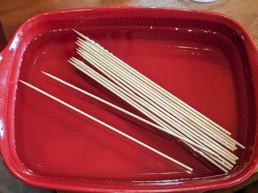 soak the skewers in water so they do not burn