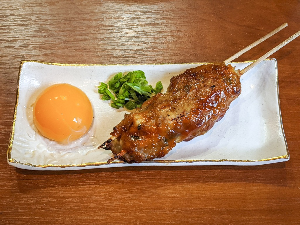 Tsukune (Japanese Chicken Meatballs) | つくね with raw egg yolk and chopped green onion